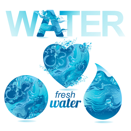 Set of vector water texture.  イラスト・ベクター素材