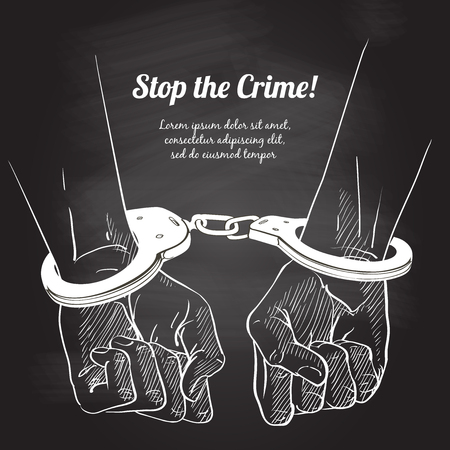 Handcuffs on the hands. Sketch vector illustration