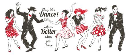 Dancing people Set Illustration
