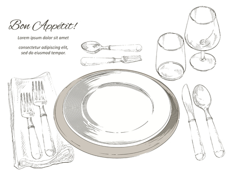 Vector cutlery set: forks, knive, spoons, empty plate