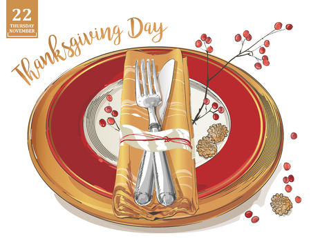 Thanksgiving poster template with cutlery set: forks, knives, spoons, empty plate wine glass. Watercolor isolated illustration on white background.  イラスト・ベクター素材