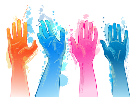 Vector people raising reaching hands up. Isolated watercolor illustration on white background.