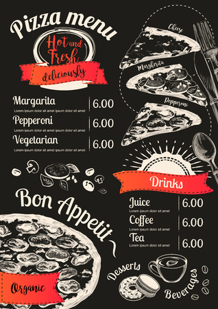 Menu pizza Vector slice chalkboard background. Doodle top view. Hand-drawn Menu illustration, line sketch.