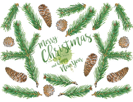 Pine branch and spruce branch tree elements with evergreen cone set, doodle. Hand drawn illustration Merry Christmas greeting card. Holiday design for calendars, posters, prints, invitations.