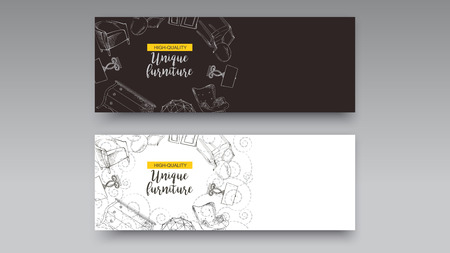 Banner of hand drawn furniture store, apartment, promotion, sale, ads