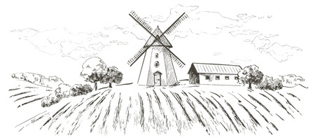 Rural landscape field wheat. Hand drawn vector Countryside landscape engraving style illustration. 写真素材 - 122206526