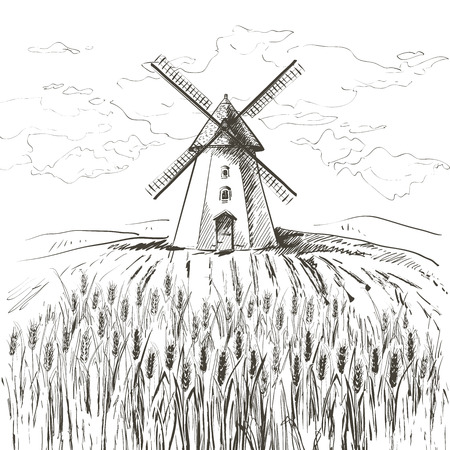 Rural dutch landscape with windmill and wheat field. Set of traditional windmill. Bakery shop, organic agricultural production, ecological food. Vector hand drawn vintage engraved sketch.  イラスト・ベクター素材