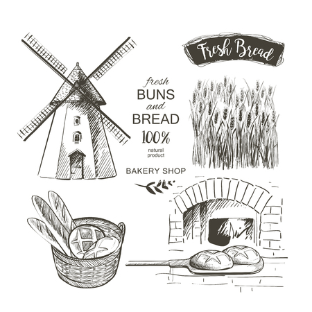 Rural dutch landscape with windmill and wheat field. Set of traditional windmill. Bakery shop, organic agricultural production, ecological food. Vector hand drawn vintage engraved sketch. 写真素材 - 126879095