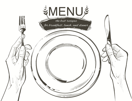 Overhead hands holding a knife and fork by a white plate on a table on white background. Fork and knife in hand Vector illustration. Cutlery manual sketch line drawing. 写真素材 - 126413820