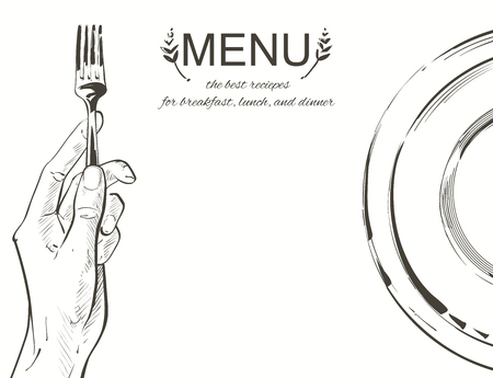 Overhead hands holding a knife and fork by a white plate on a table on white background. Fork and knife in hand Vector illustration. Cutlery manual sketch line drawing. 写真素材 - 126413823