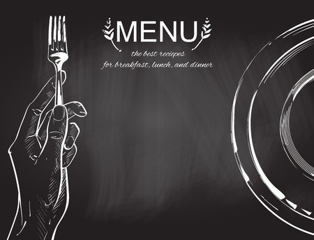 Overhead hands holding a knife and fork by a white plate on a table on white background. Fork and knife in hand vector chalk drawing on the blackboard illustration. Cutlery manual sketch line drawing.