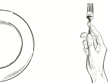 Overhead hands holding a knife and fork by a white plate on a table on white background. Fork and knife in hand Vector illustration. Cutlery manual sketch line drawing.