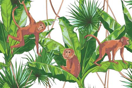 Paume de bananes tropicales, singe, modèle sans couture de texture. Grand fond de nature de feuillage de palmier. Design vintage pour bannière, textile, papier peint. Illustration aquarelle vectorielle. Vecteurs
