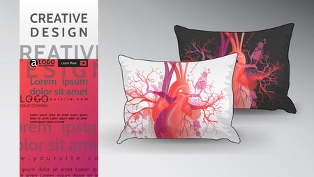 pillow Mock Up creative abstract vector heart design Stock Vector - 125339493