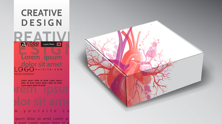 box background creative abstract vector heart design Illustration