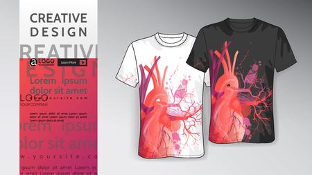 Mock-up T shirt Template heart design vector
