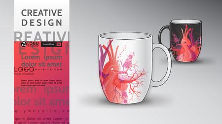 cup mug Mock Up vector heart pattern background design  イラスト・ベクター素材