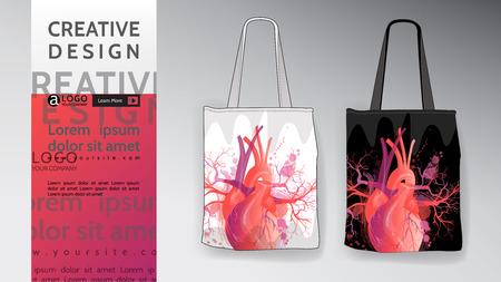 bag Mock Up design set. Vector art illustration heart pattern