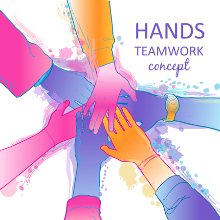 Top view of people putting their hands on each other. Businessman, teamwork, stacking concept. The group of diverse hands joining together. Isolated vector, line illustration on white background. 写真素材 - 125268543