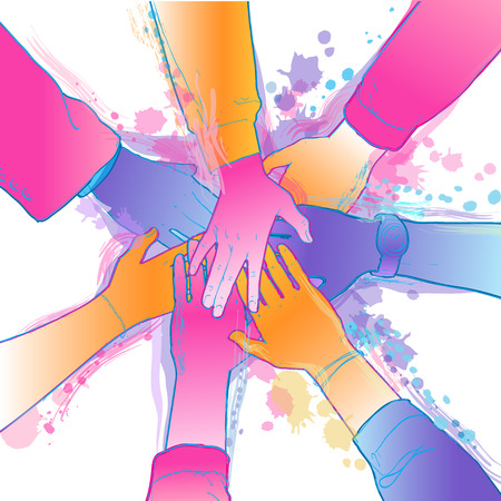Top view of people putting their hands on each other. Businessman, teamwork, stacking concept. The group of diverse hands joining together. Isolated vector, line illustration on white background. Ilustração