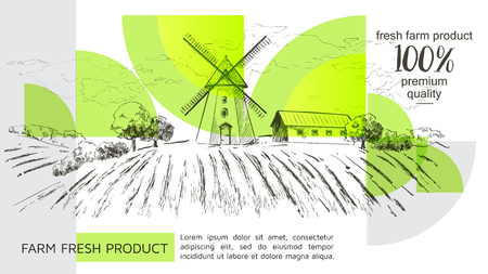 Rural dutch landscape with windmill and wheat field. Set of traditional windmill. Bakery shop, organic agricultural production, ecological food. Vector hand drawn vintage sketch. - Vector illustration 写真素材 - 124890478