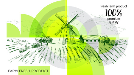 Rural dutch landscape with windmill and wheat field. Set of traditional windmill. Bakery shop, organic agricultural production, ecological food. Vector hand drawn vintage sketch. - Vector illustration