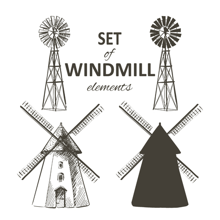 Rural dutch landscape with windmill and wheat field. Set of traditional windmill. Bakery shop, organic agricultural production, ecological food. Vector hand drawn vintage engraved sketch. Illustration