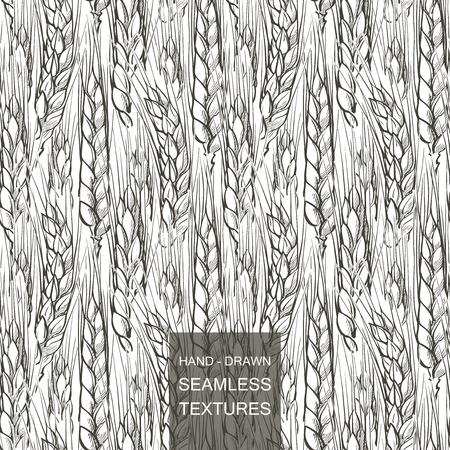 Vector seamless pattern field of wheat. Hand drawn engraving illustration of Countryside  イラスト・ベクター素材