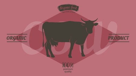 Cow in graphic line style, hand drawing vector image 写真素材 - 122206707