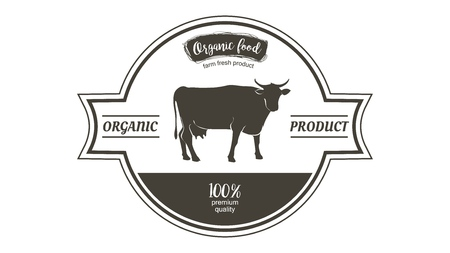 Cow in graphic line style, hand drawing vector image  イラスト・ベクター素材