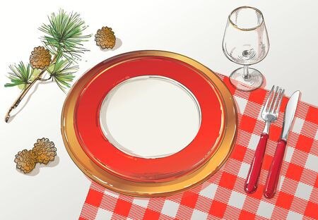 Christmas table decorating setting. Vector Festive cutlery set: fork, knife, empty plate on tablecloth with spruce branch. Menu. Top view. Color isolated illustration on red background. 写真素材 - 135026304