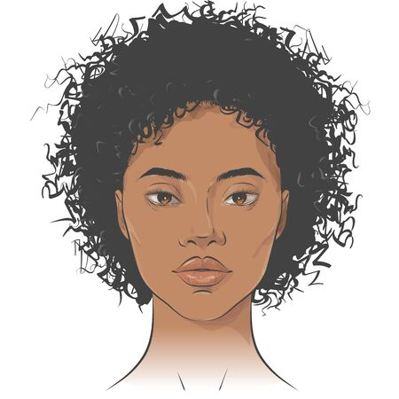 Vector African American dark-skinned woman face with healthy skin and curly hair. 写真素材 - 138981740