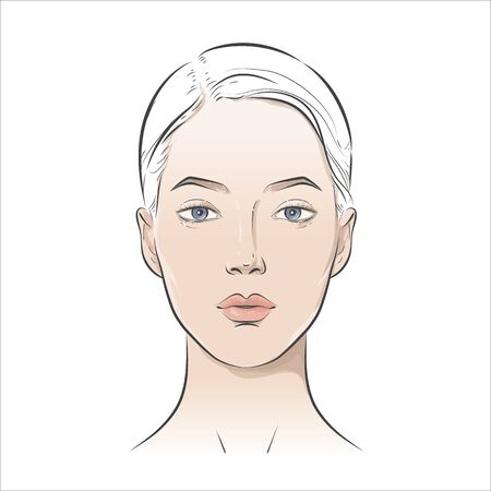 Vector woman face. Young beautiful girl with healthy skin.  イラスト・ベクター素材
