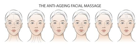 Set of facial cosmetic instructions on woman. 写真素材 - 138981741