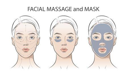 Set di istruzioni cosmetiche per il viso sulla donna.