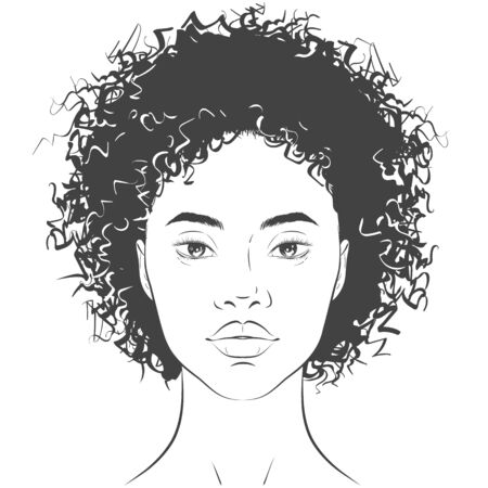 Vector African American dark-skinned woman face with healthy skin and curly hair.