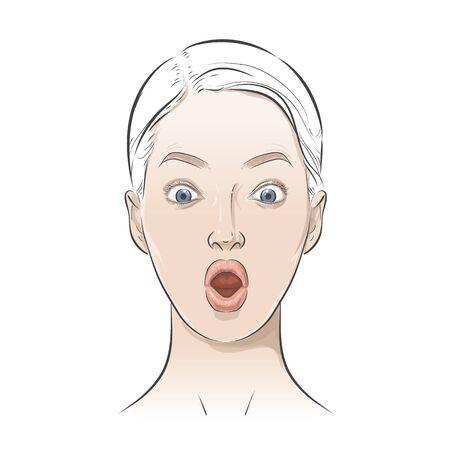 Womens positive emotions, feelings. Girl portrait Avatar.