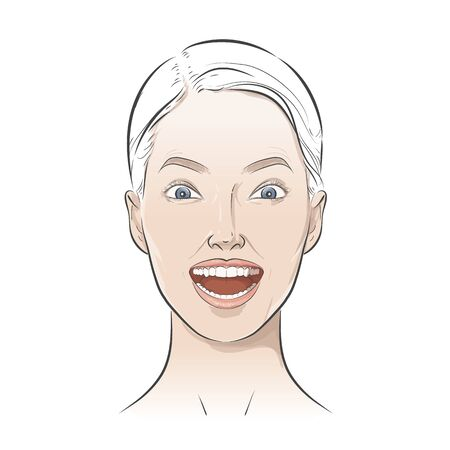 Womens positive emotions, feelings. Girl portrait Avatar.