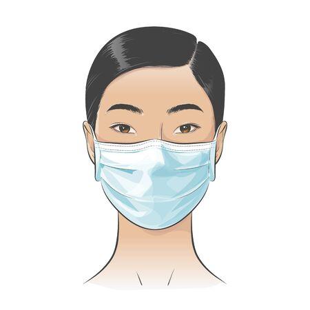 Femme asiatique de vecteur portant un masque facial chirurgical médical jetable pour se protéger contre la ville de pollution toxique élevée de l'air
