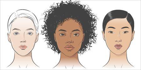 Vector Set of women portraits African African-american, asian, European. 写真素材 - 138981752