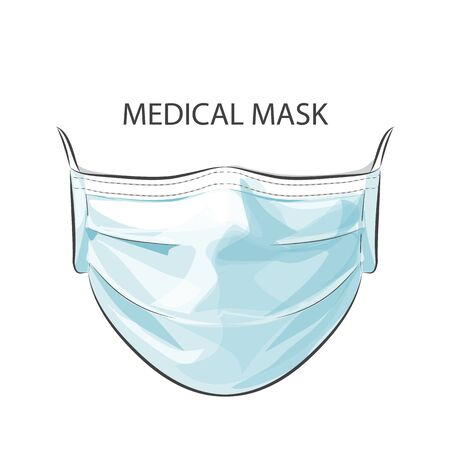 Person wearing disposable medical surgical face mask to protect against high air toxic pollution city. stop the spread of viruses, help prevent hand-to-mouth transmissions. Vector illustration