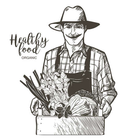 Farmer with a hat and mustache with basket of vegetables, fruits, apples. Man with organic product crops from the farm. Vector vintage line sketch illustration