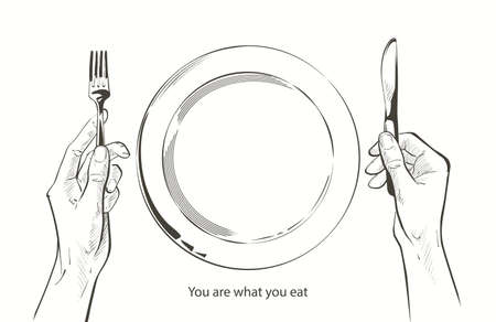 Vector hands holding a knife and fork, plate on a table. Fasting, starvation, diet, weight loss, healthy eating concept. Bon appetit. Cutlery sketch line drawing silhouette realistic illustration.