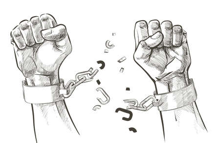 hands breaking steel shackles chain. Sketch vector  イラスト・ベクター素材