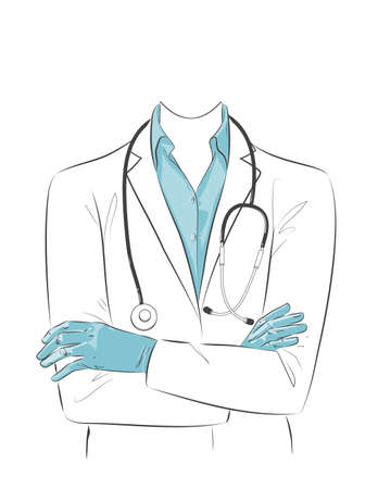 Portrait of Doctor with face mask, medical gloves crossed arms. Female nurse character wearing white coat, stethoscope, protective PPE. Vector sketch line illustration