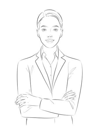 Business woman manager or a clerk with crossed arms. Young happy smiling characters portrait. Sketch Vector line illustration