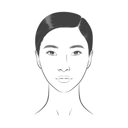 Asian Woman face. Black and white line sketch front portrait 向量圖像