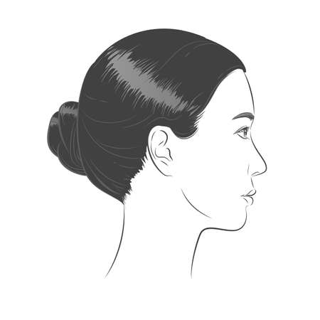 Asian Woman face. Black and white line sketch front portrait  イラスト・ベクター素材