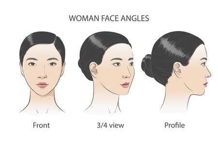 Asian korean women portrait three dimension angles. Vector illustration Vektorgrafik