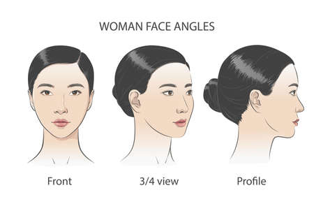 Asian korean women portrait three dimension angles. Vector illustration Vetores